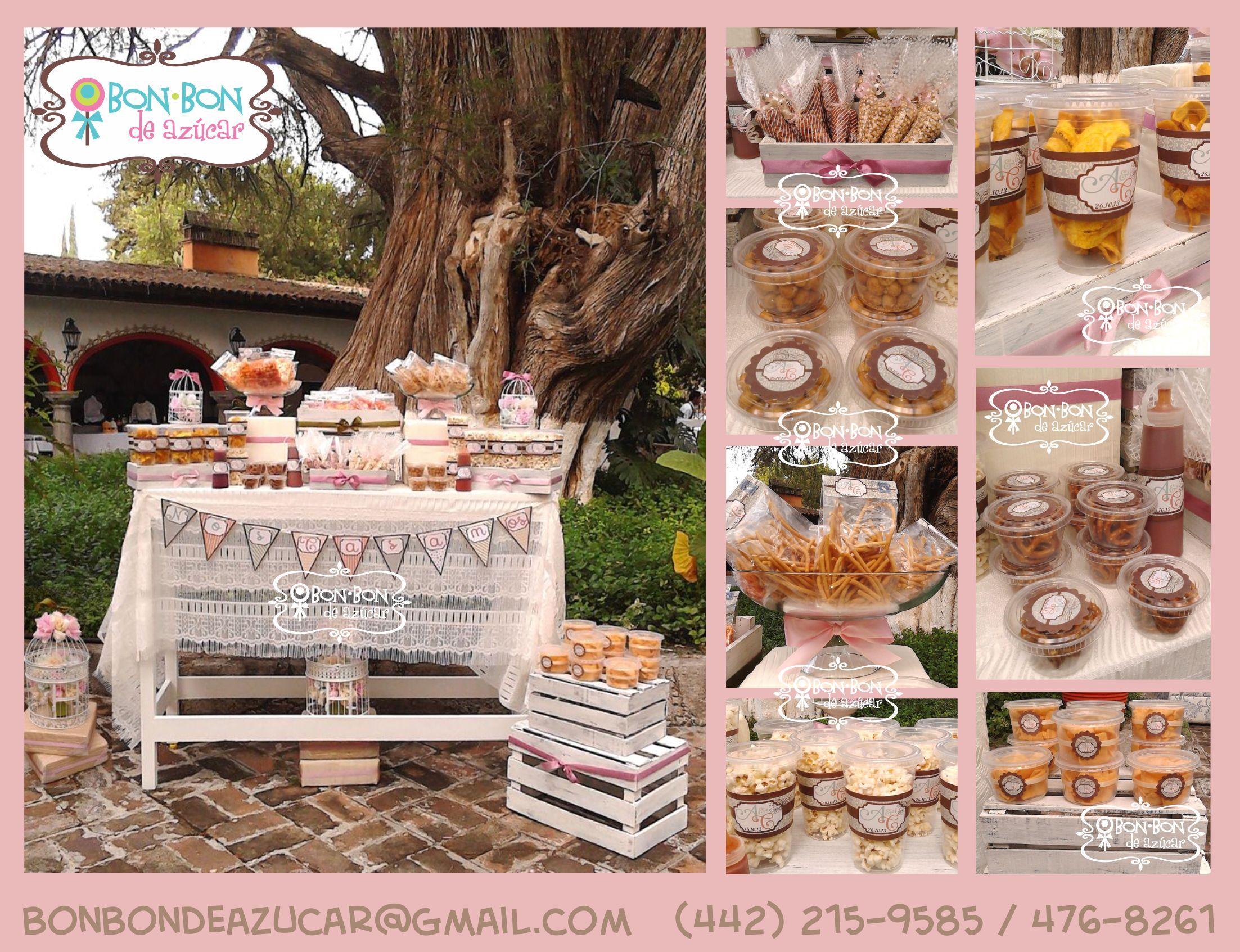 barra de snacks para boda vintage en qro