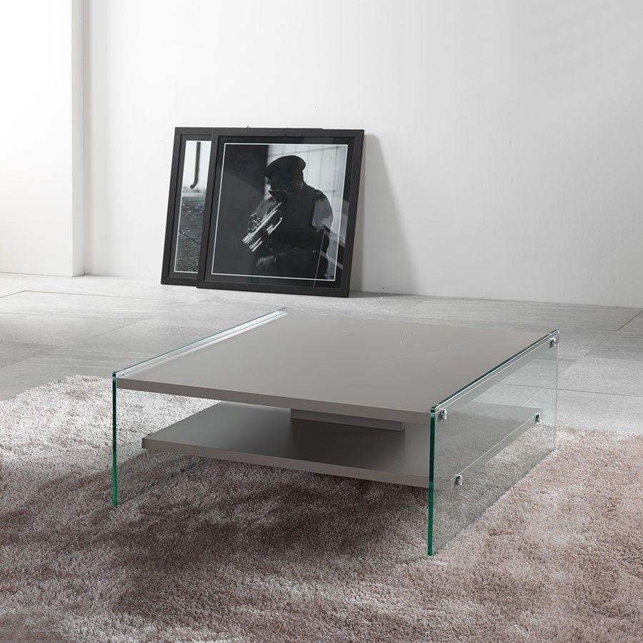 Tavolino da salotto Maxim in vetro e laminato 80 x 80 cm Un ...