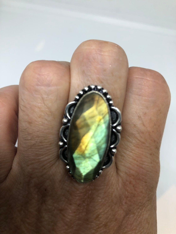 Vintage Large Labradorite Rainbow Moonstone stone silver