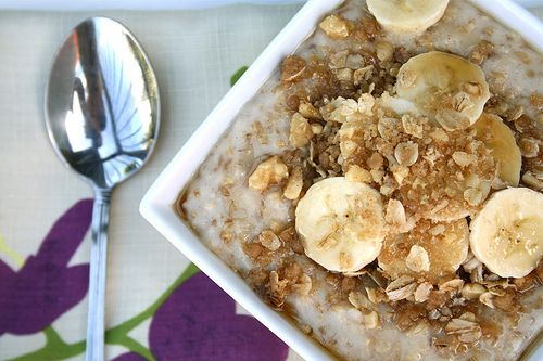 Steel Cut Oatmeal with Bananas & Cobbler Topping!