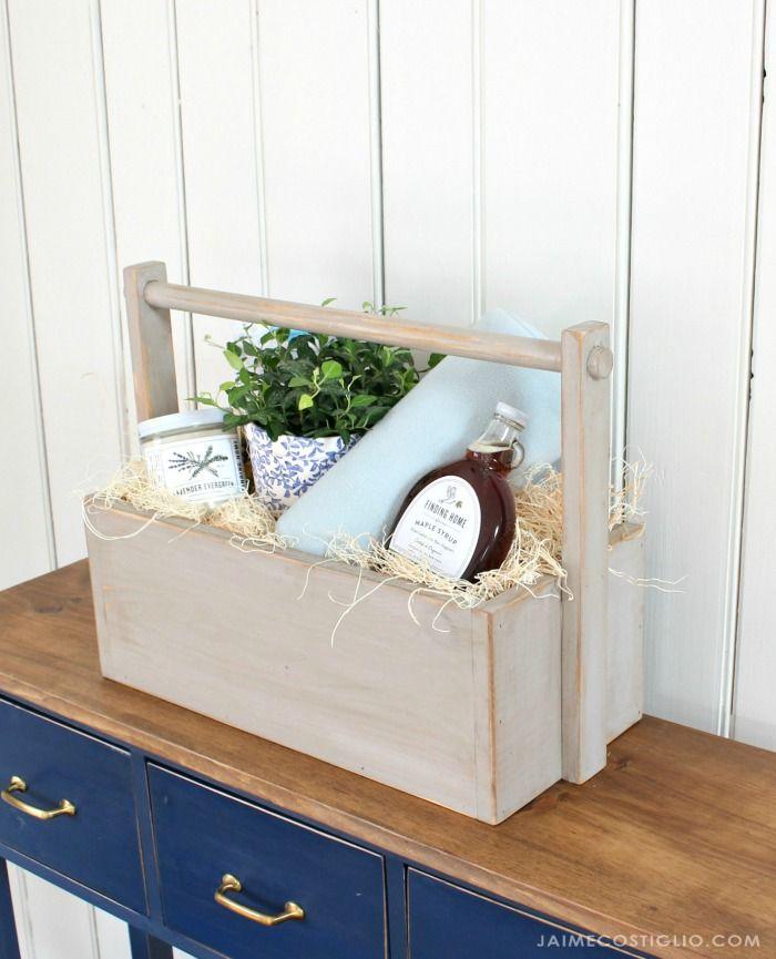 DIY Cozy Wood Gift Basket | Wood gifts, Wood basket, Gift ...