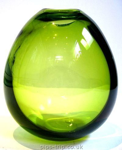 SOLD GLASS ARCHIVES : Scandinavian Glass 1 : 1960's Holmegaard Green Ovoid Glass Vase by Per Lutken, signed