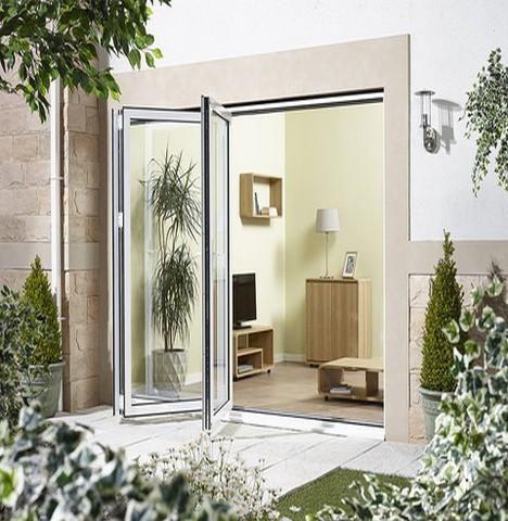 External 3 0m Aluvu 10ft Aluminium Bi Fold Door Set In A White Finish Left Hand Opening Moda Doors 1 With Images External Doors External Bifold Doors Door Sets
