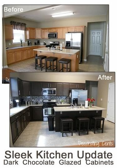 How To Paint Kitchen Cabinets Dark Chocolate. I like the idea of dark cabinets for the bottom & white for the top