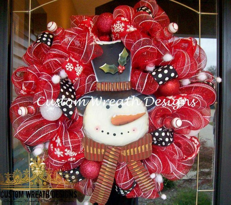 mesh christmas wreath ideas Snowman Mesh Wreath $8500, via Etsy - christmas wreath decorations