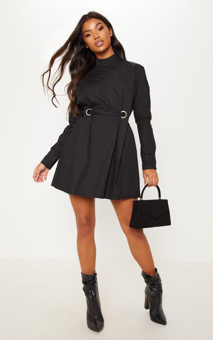 0658417c1ba6 Black High Neck Ring Detail Shirt Dress