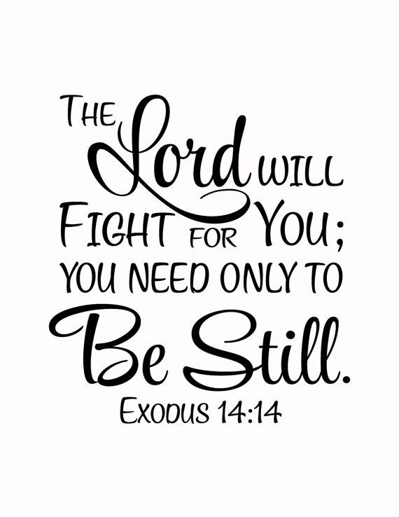 Exodus 14:14 The Lord will fight for you; you need