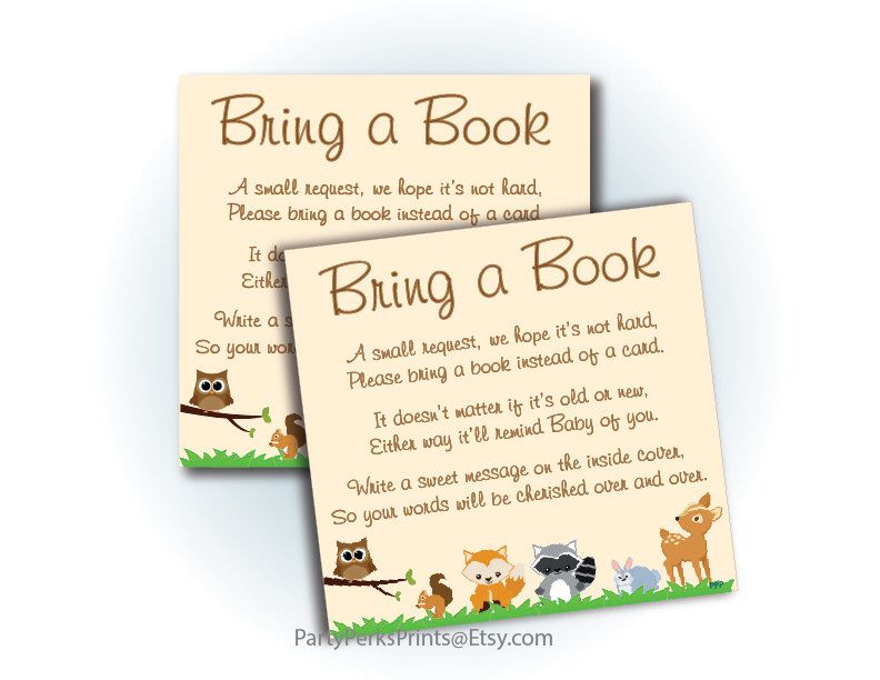 Bring A Book Baby Shower Invitation Insert - Printable Woodland ...