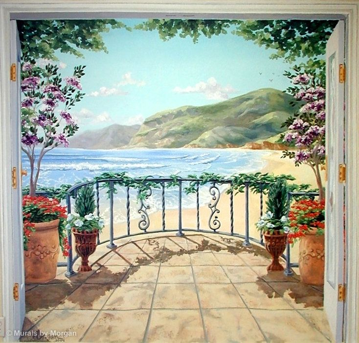beachfront balcony trompe l 39 oeil mural close up for the home pinterest balconies wall. Black Bedroom Furniture Sets. Home Design Ideas