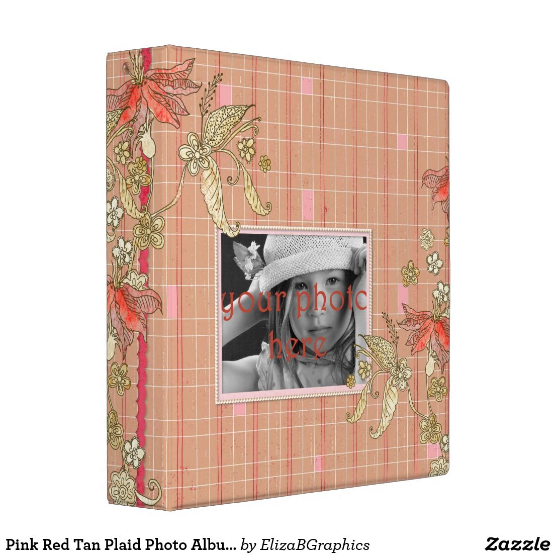 Pink Red Tan Plaid Photo Album Scrapbook Binder