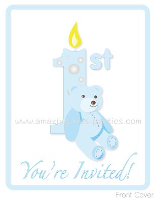 FREE Baby Teddy 1st Birthday Invites