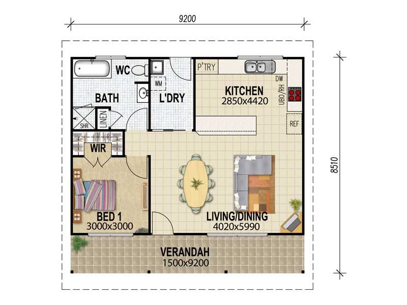 House Plans Queensland Granny Flat Plans One Bdrm Floor