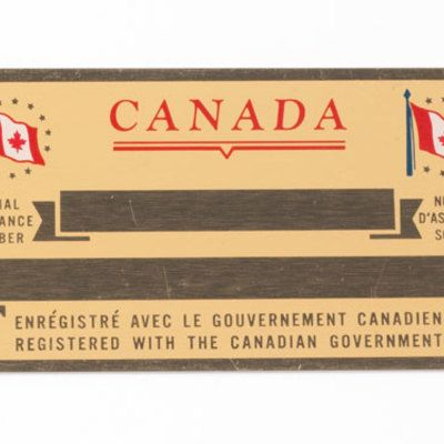 Vintage 1960 S Engraveable Canadian Social Insurance Card