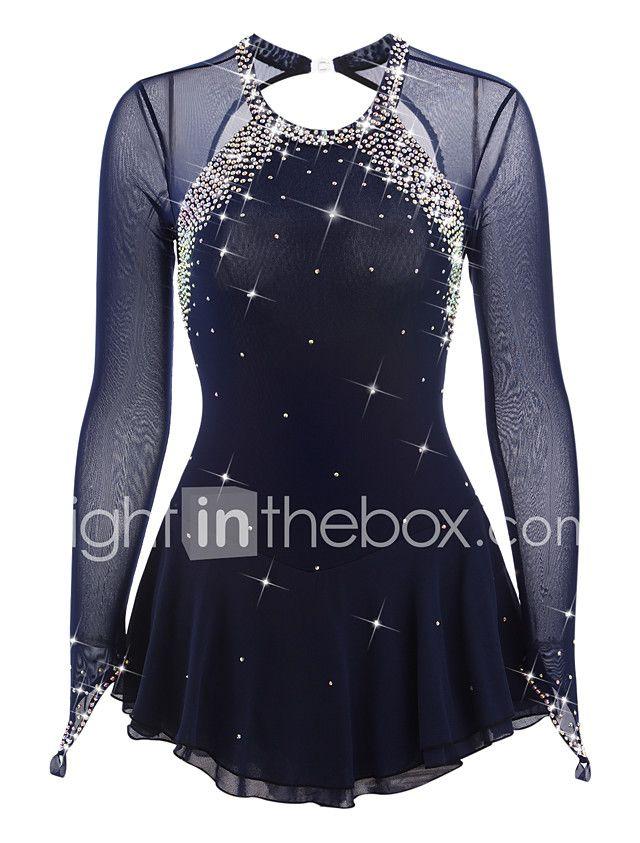 4210d8627f Vestidos para Patinação Artística Mulheres Para Meninas Patinação no Gelo  Vestidos Azul Escuro Pedrarias Elasticidade Alta Espetáculo de 2018 por   2710.68