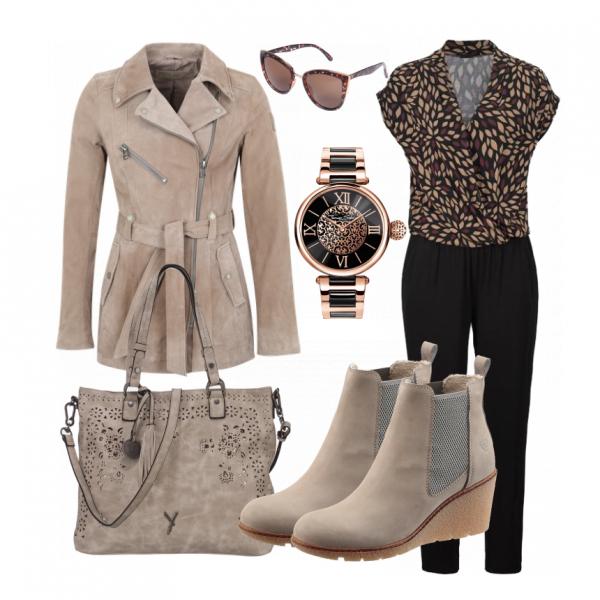 Trendy Outfit aus Jumpsuit von Lascana, Lederjacke und