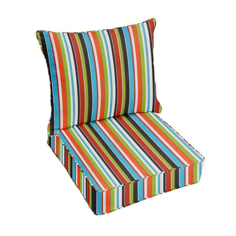 Sunbrella Stripe Outdoor Seat Cushion Red/Green in 2020