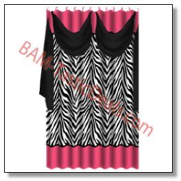 Zebra Black Pink Shower Curtain With Detachable Voile Scarf And