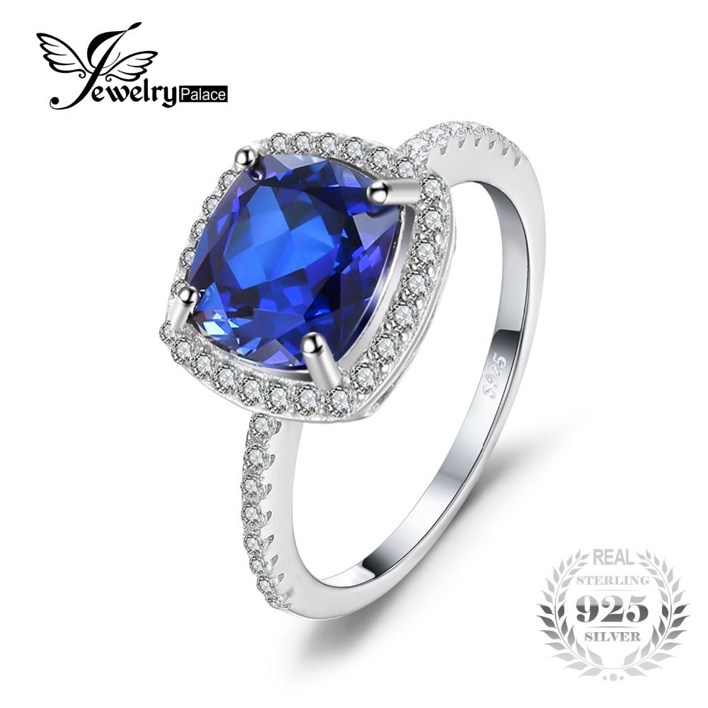 JewelryPalace Anniversary 2.3ct Created Sapphire 3 Stone Ring 925 Sterling Silver pRJDT831