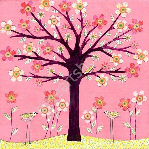 Дерево в розовых цветах,раскраска по № (с изображениями ...