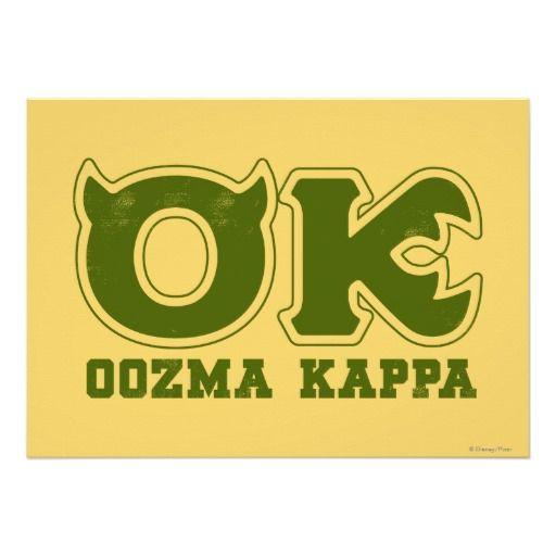 Ok Oozma Kappa Logo Poster Zazzle Com Monster University Monsters Inc Halloween Create Custom Stickers
