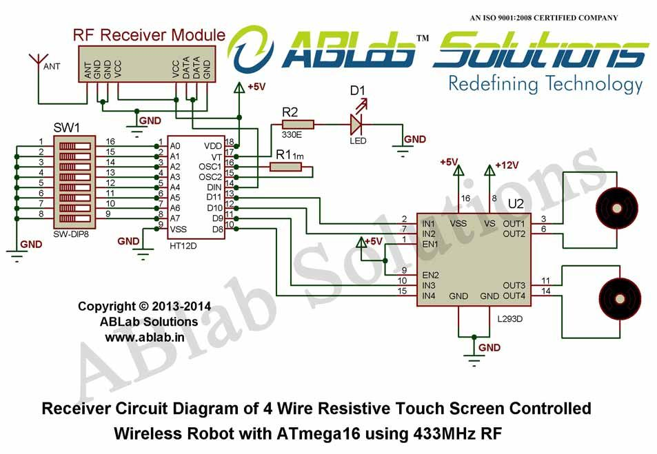 How To Design A 4 Wire Resistive Touch Screen Controlled Wireless Robot With Avr Atmega16 Microcontroller Using 4 Microcontrollers Circuit Diagram Touch Screen