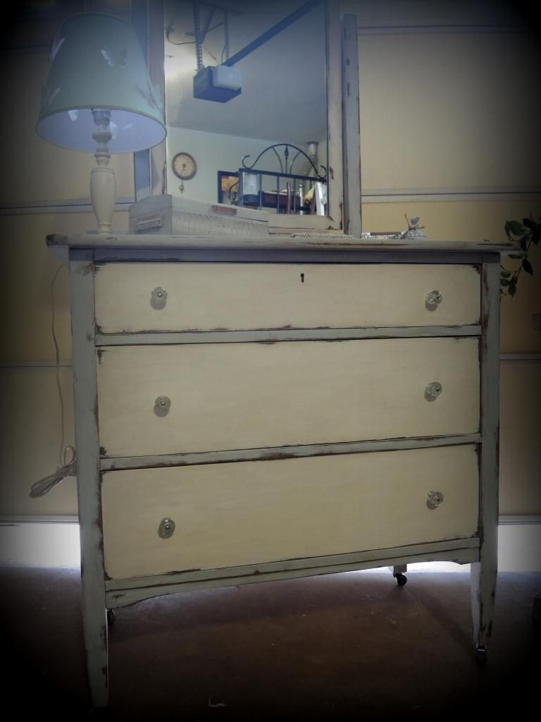 Painted Antique 1920 S 3 Drawer Dresser With Mirror On