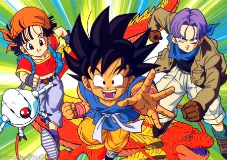 Goku, Pan, Trunks, and Giru