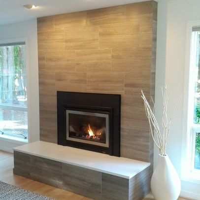 Installed 12 x 24 gray limestone tile bathrooms brick - Covering brick fireplace with tile ...