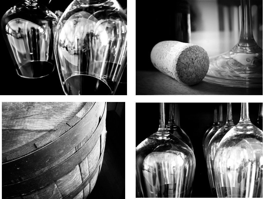 Restaurant Kitchen Photography black and white wine photography print set, wine art winery