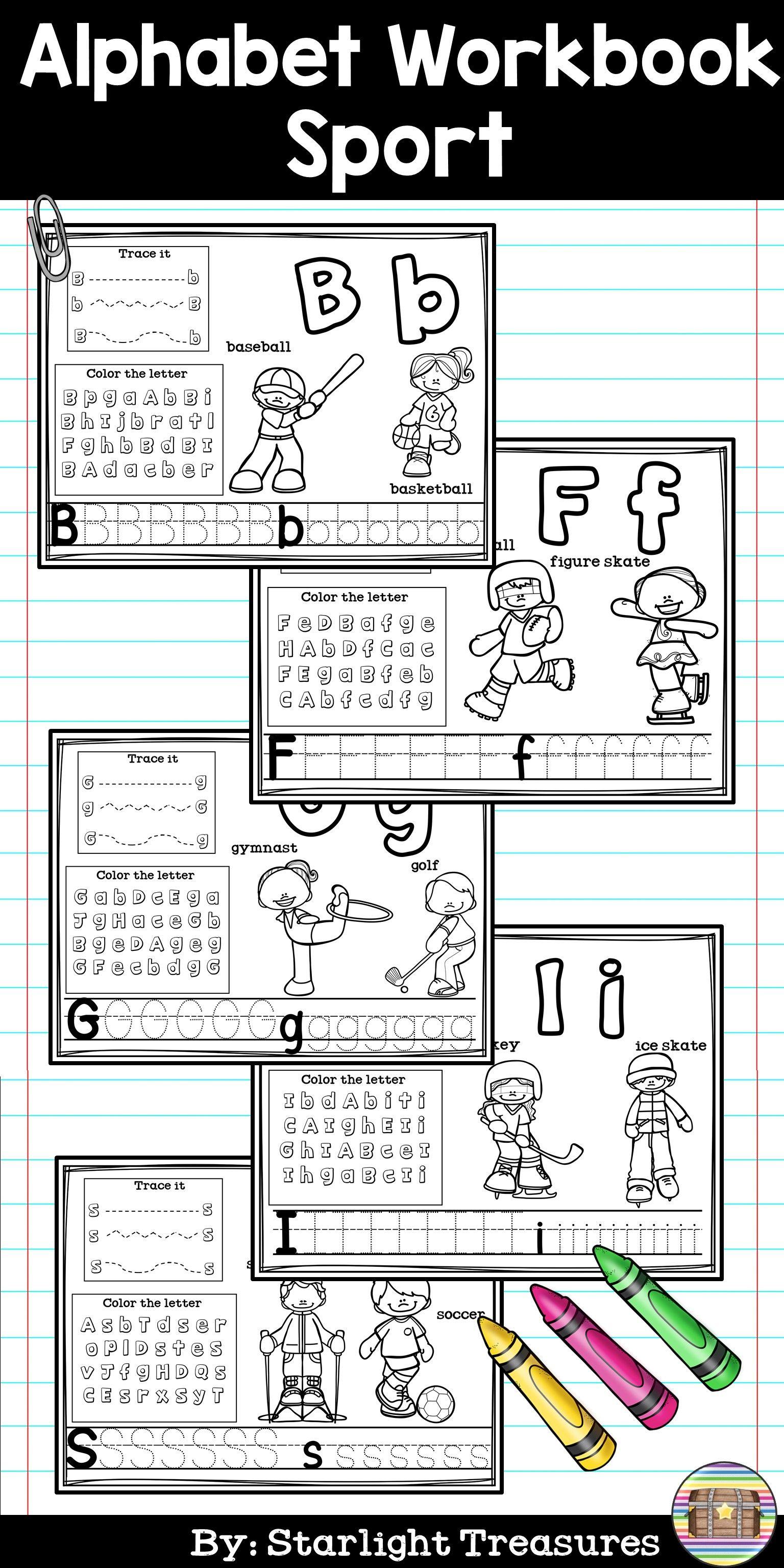 Alphabet Workbook Worksheets A Z Sports Theme