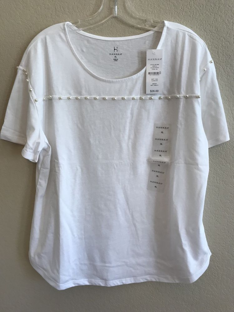 Hannah Size Xl White Top Beaded Pearls T Shirt Summer Short Sleeve Tee New Nwt Hannah Tshirt Casual Tops Nice Tops White Tops
