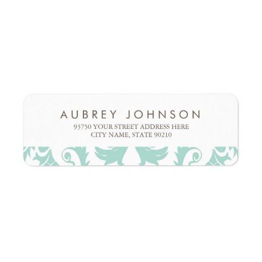 Elegant Blue Damask Address Labels Wedding Invitation Collections