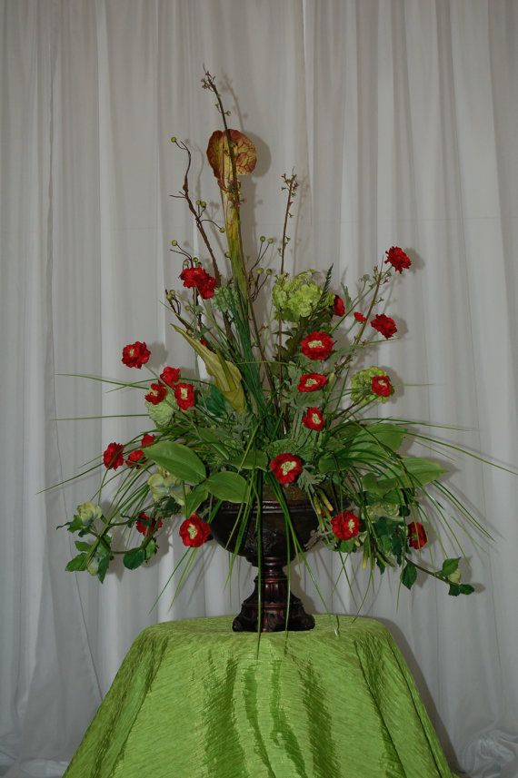 Beautiful Table Arrangement in Apple Green and by SyblesFlowers