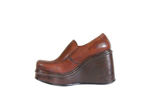 c869711d94c Vintage 90s Platform Shoe Brown Wedge Loafer by  ShineBrightVintage ...