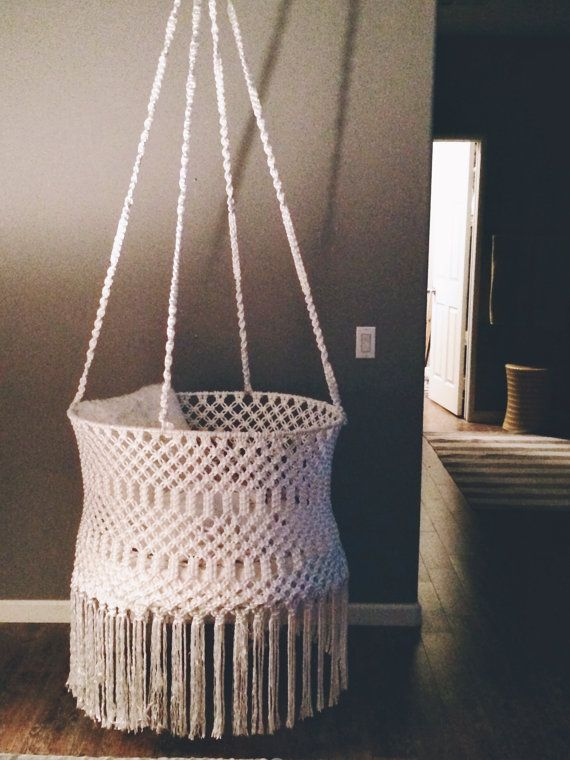Macrame bohemian round baby basinet by macramewithlove on for Diy macrame baby swing