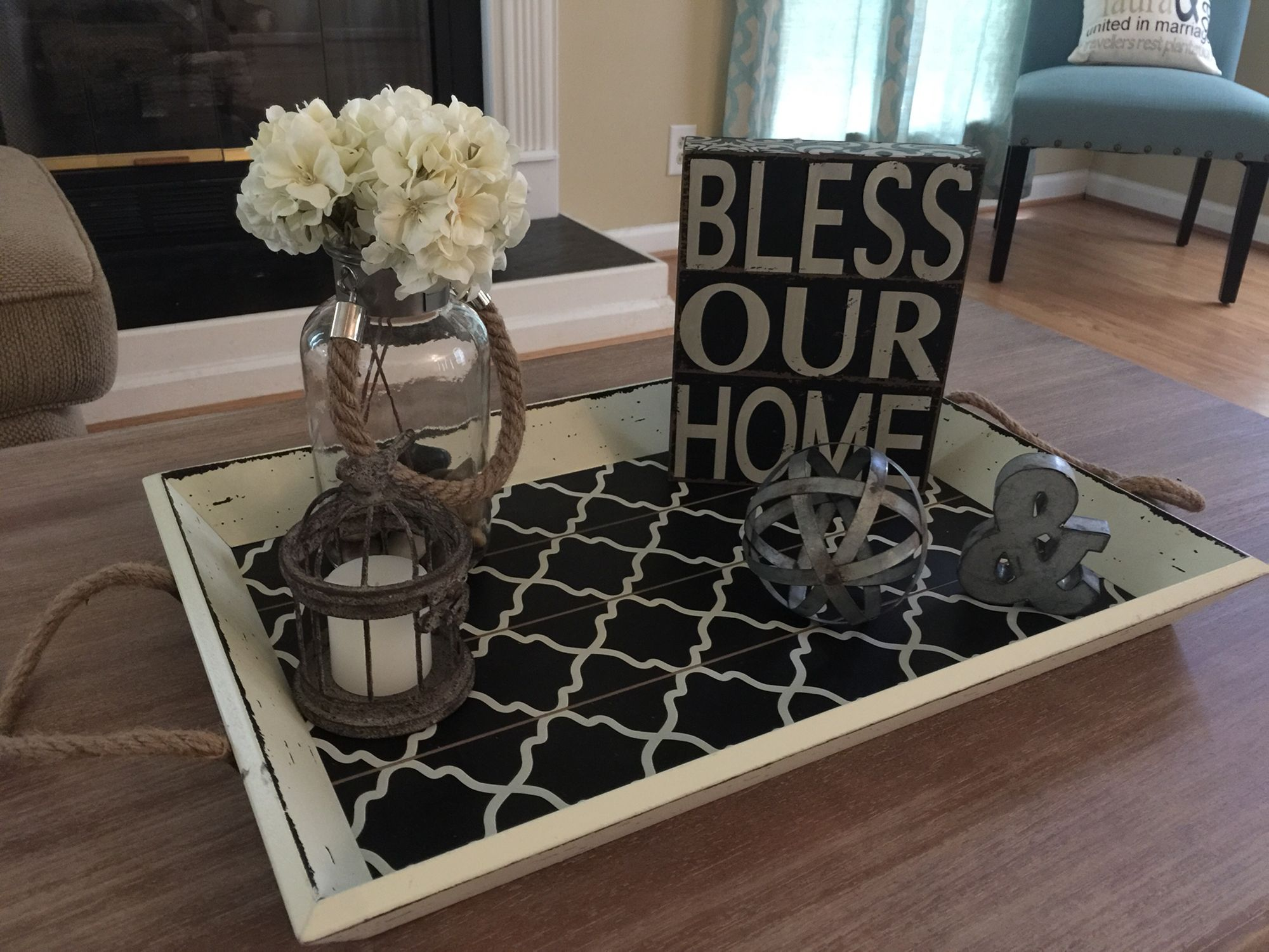 Rustic chic coffee table tray All Hobby Lobby finds