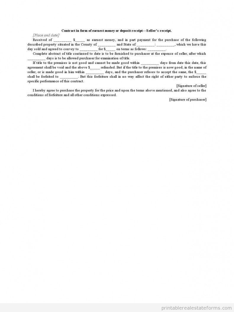 Contract In Form Of Earnest Money Or Deposit Receipt Seller Wiring
