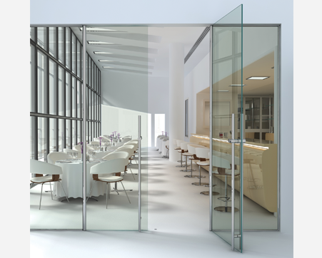 Fine Commercial Interior Glass Door With In Decor