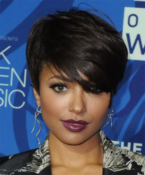 Kat Graham Short Straight   Dark Brunette   Hairst