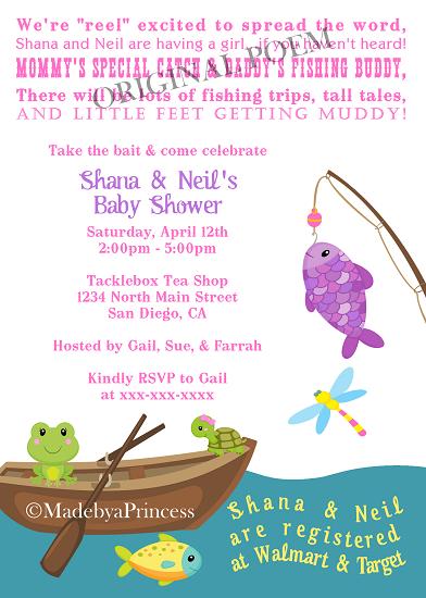 Fishing girl themed printable baby shower invitation for Fishing baby shower invitations