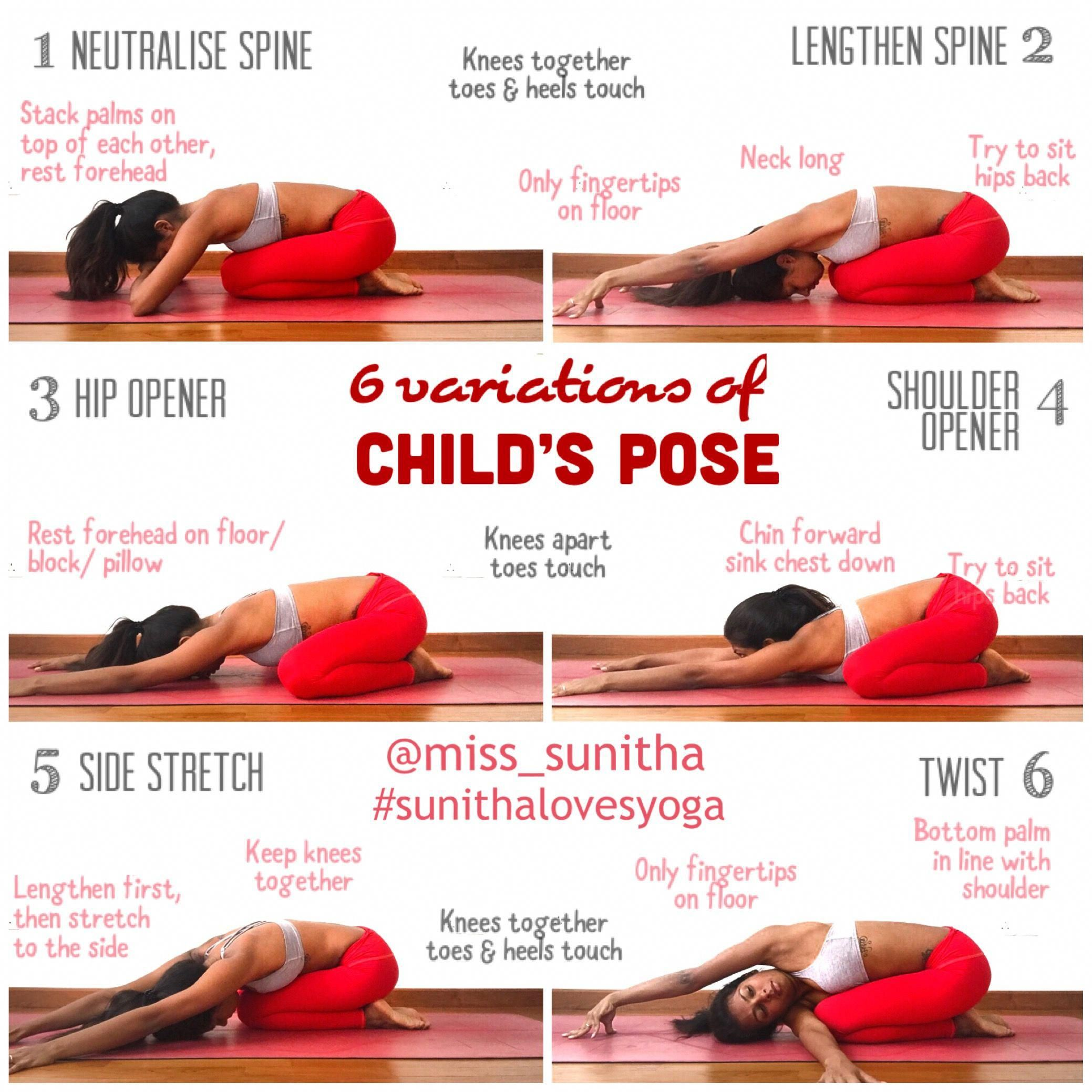 Yoga Pose Variations For Child S Pose Miss Sunitha Sunithalovesyoga Canyogahelpeasepain Yoga Benefits Restorative Yoga Kids Yoga Poses