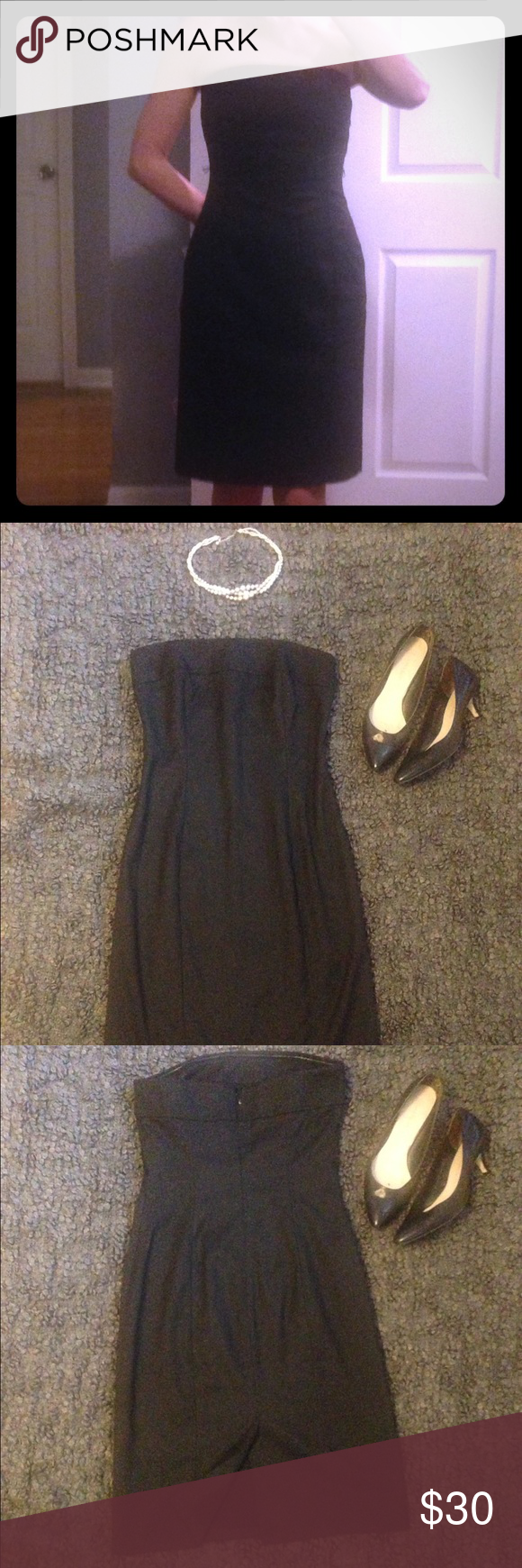 """Strapless LBD with subtle shimmer Classic strapless lbd with all over subtle gray/black shimmer. Two string loops on side that could be used to hold a belt or be cut off. Perfect condition, worn once. Classy and hits at knee on me (5' 6""""). The Limited Dresses Strapless"""