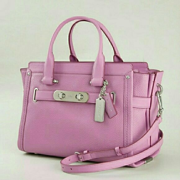 Large Coach Swagger Satchel Puce color (pinkish/purple). Excellent condition. Only used a few times. Dust cover included. No trades. No paypal. Coach Bags Satchels