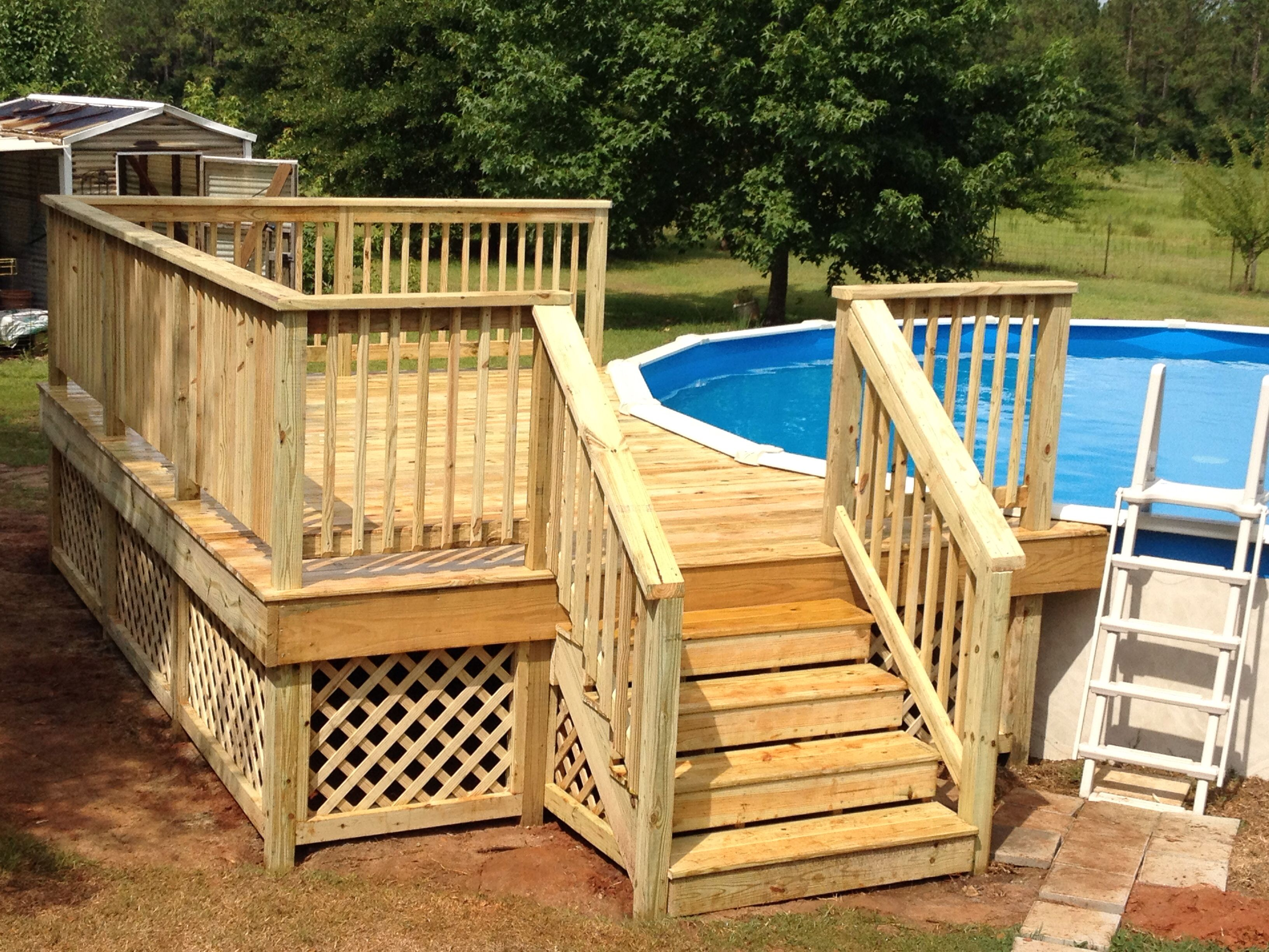 12x16 deck on round pool my projects pinterest for Deck from house to above ground pool