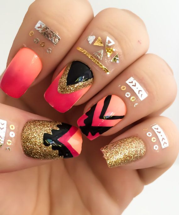 Tribal Fake Nail Set, Ombre False Nail, Pink Acrylic Nails, Orange ...
