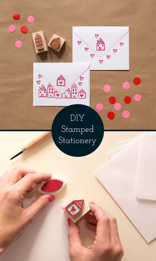 Diy hand carved stamps make your own stationery set diy cards