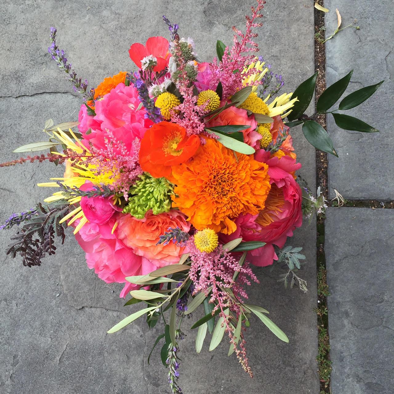 Colorful Bridal Bouquet For A Santa Fe Themed Wedding Marigolds Poppies Astilbe Craspedia Mums Colorful Bridal Bouquet Coral Charm Peony Marigold Wedding