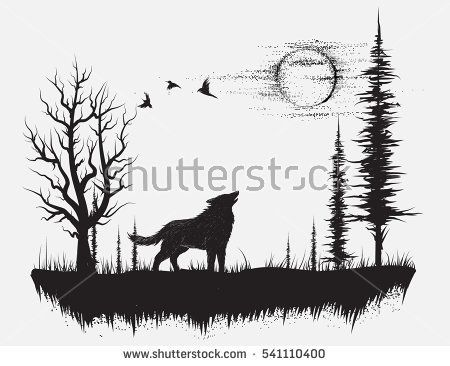 Silhouette Of Wolf With Crescent Moon And Stars Isolated Sticker Black Work Print Or Flash Tattoo Design Vector I Wolf Silhouette Wilderness Tattoo Wolf Art