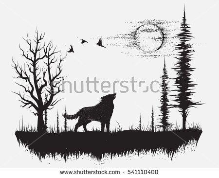 Wolf Background Tatuagens De Florestas Tatuagem De Paisagem Silhueta De Lobo