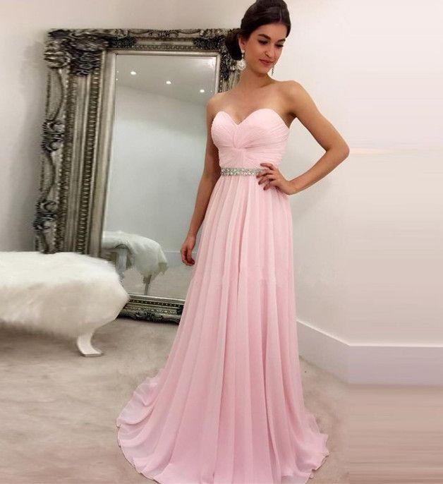 Lang Rosa Chiffon Trägerlos Abendkleid Ballkleid
